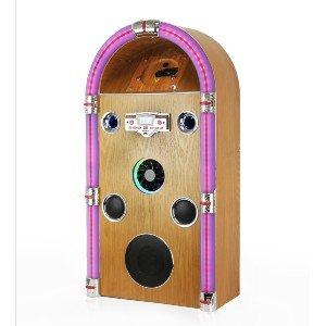 Steepletone Jive Swing 90 – Floor Standing Jukebox with Bluetooth, Radio, CD, MP3 & AUX-IN Playback (Light Wood)