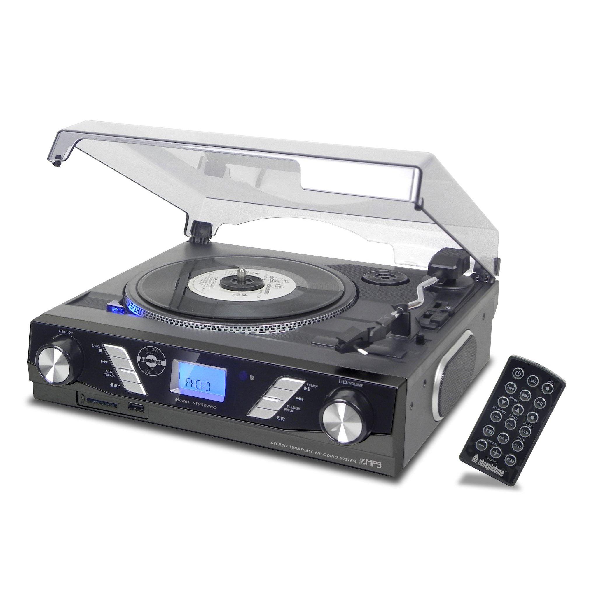 Steepletone ST930 PRO 3 Speed Record Player MP3 to USB SD Recording (Black)