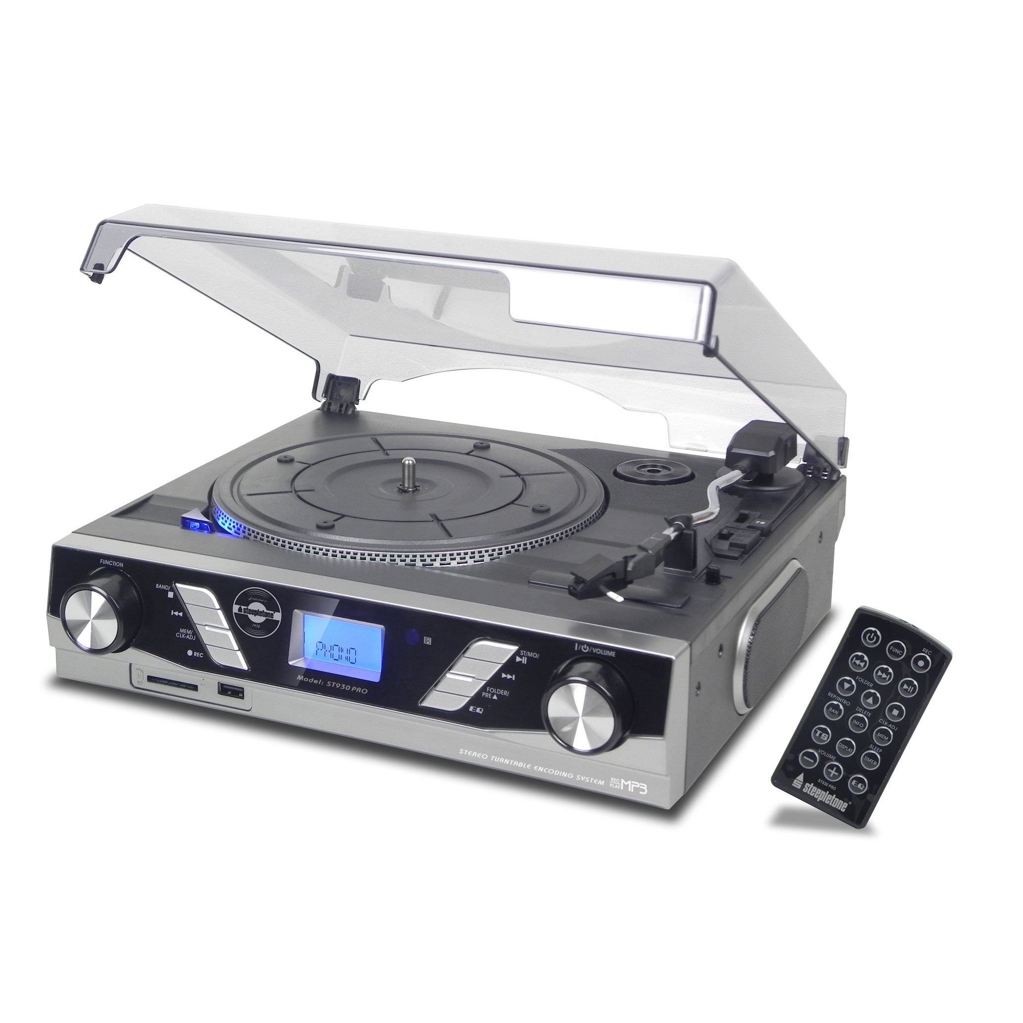 Steepletone ST930 PRO 3 Speed Record Player MP3 to USB SD Recording (Silver)
